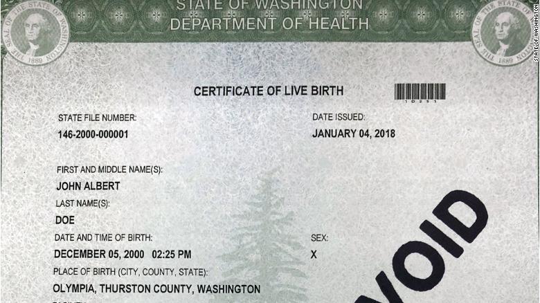 Бланк свидетельства о рождении из штата Вашингтон.
